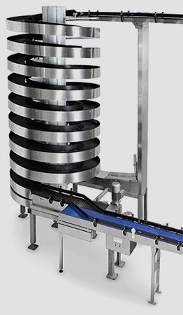 Tall Ryson Stainless Steel Mass-Flow Spiral Conveyor