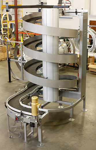 Ryson Spiral Conveyor with Optional Extended Infeed for layout flexibility