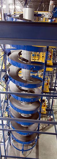 Ryson Tall Multiple Entry Spiral Conveyor at a Distribution Warehouse