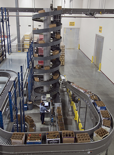 Early out Spiral Lift at Wine & Spirits Distribution Center