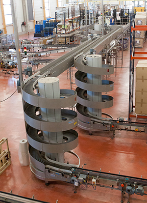 Ryson Spiral Conveyors in Packaging Line