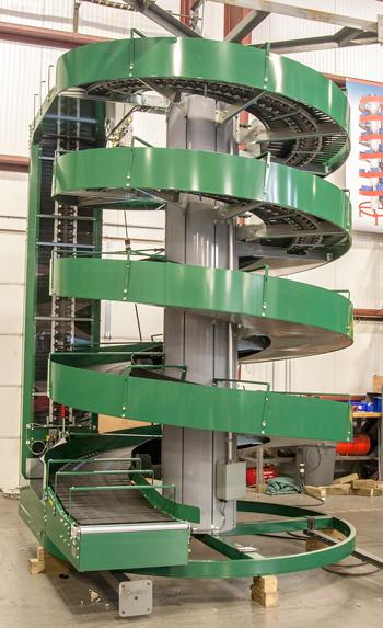 Split Lane Divider on a Spiral Conveyor