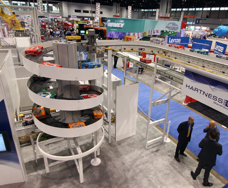 Ryson Spiral Conveyors at the Hartness Booth in Pack Expo