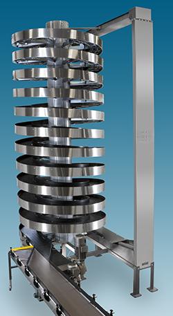 Tall Stainless Steel Mass Flow Spiral Conveyor