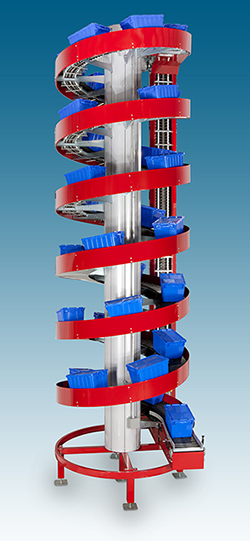 High Capacity Spiral Conveyors with Totes