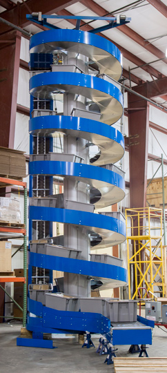 Ryson Spiral used for vertical indexing with totes