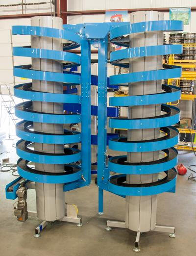 Two Narrow Trak Spiral Conveyors used for Curing Time