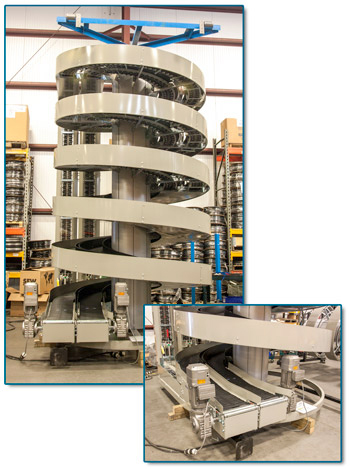 Ryson Dual Track Spiral Conveyor for Two Production Lines