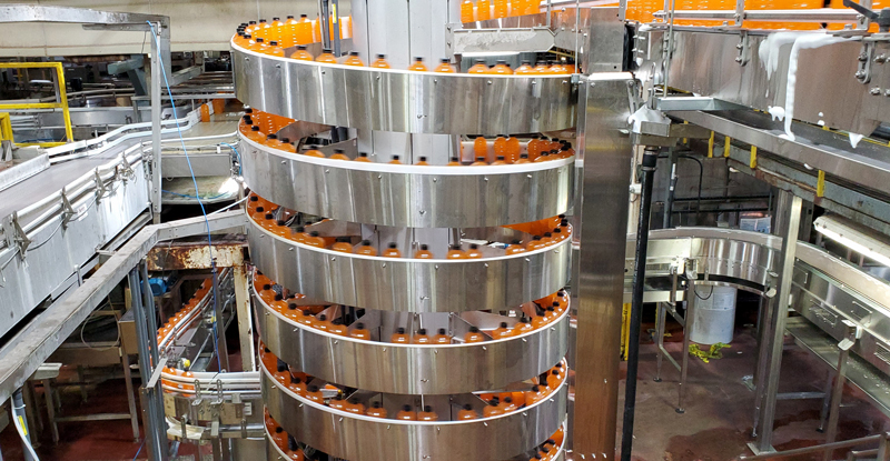 High Speed Spiral Conveyor in a Bottling Plant