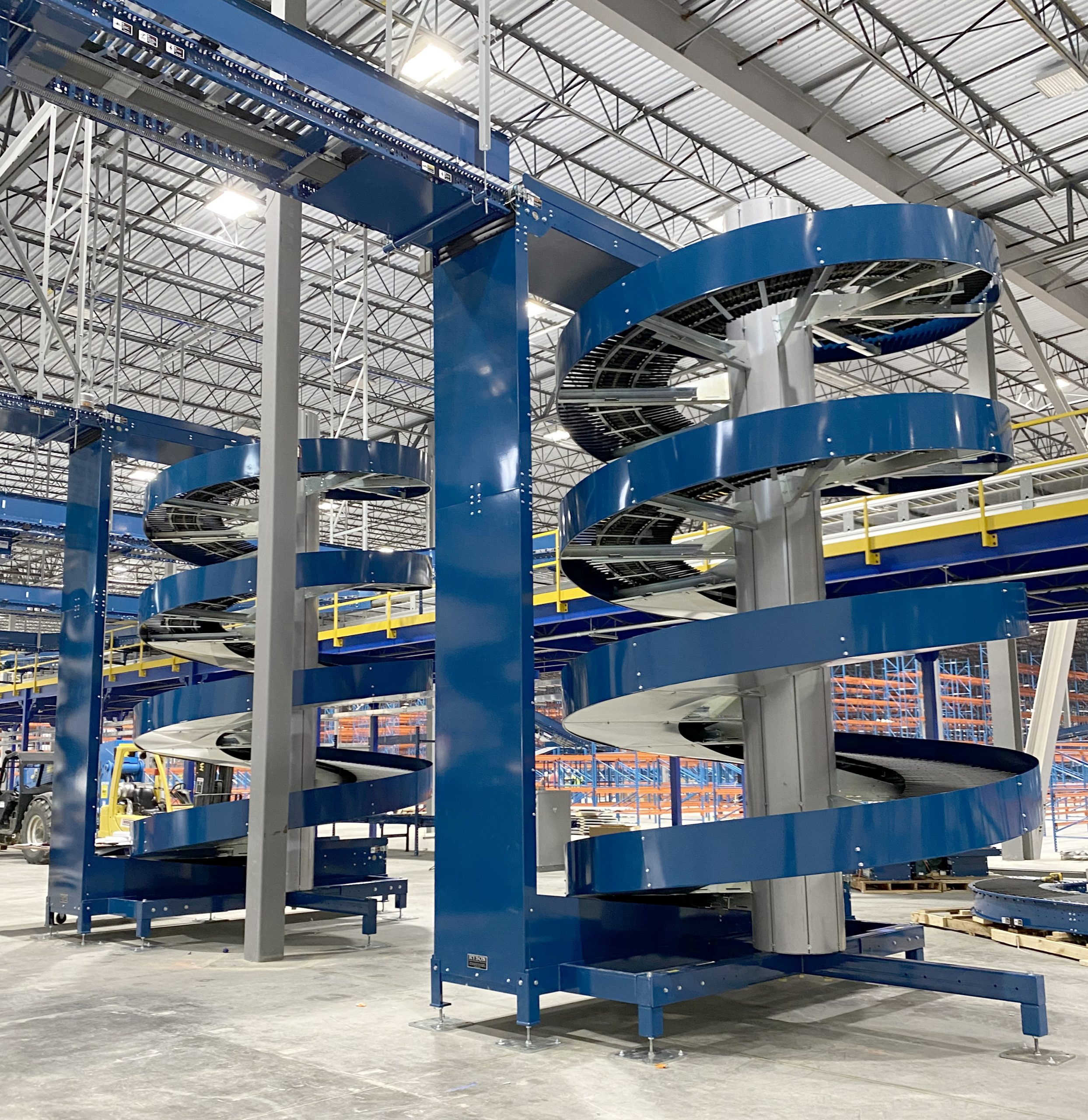 RYSON Wide Trak Spirals in Large Multi Level Distribution Operations