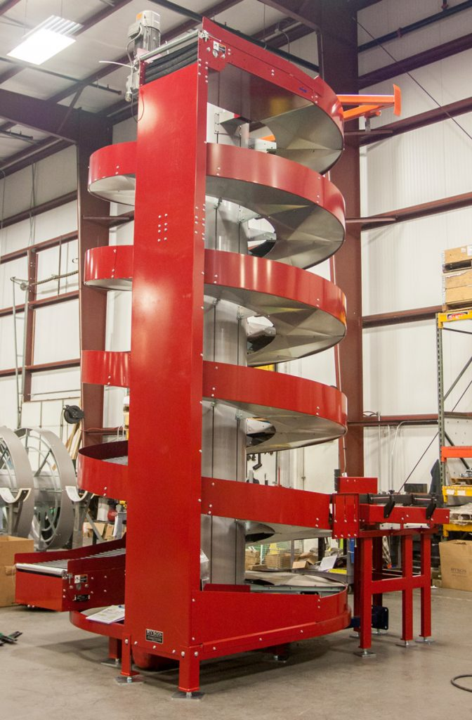 A Ryson Multiple Infeed Spiral Conveyor can convey multiple production lines